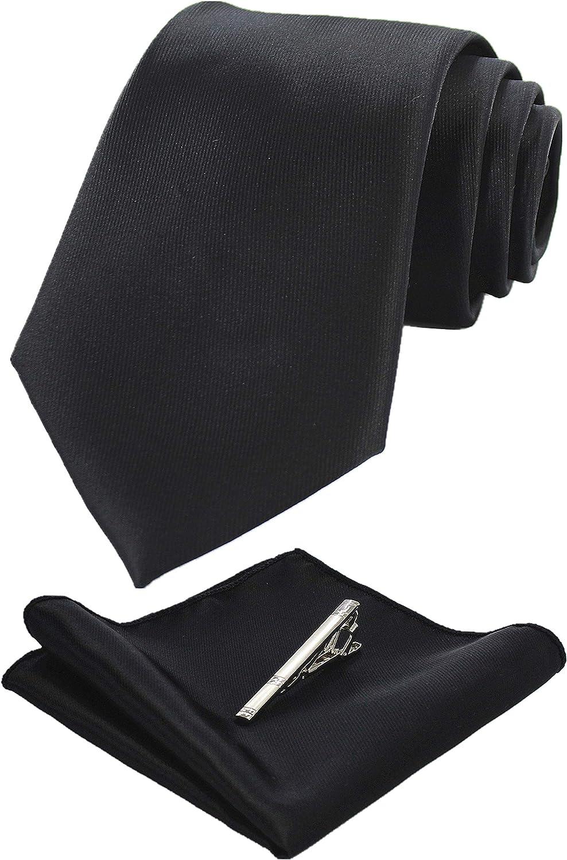 New formal men/'s polyester extra long necktie /& hankie set solid prom dark gray