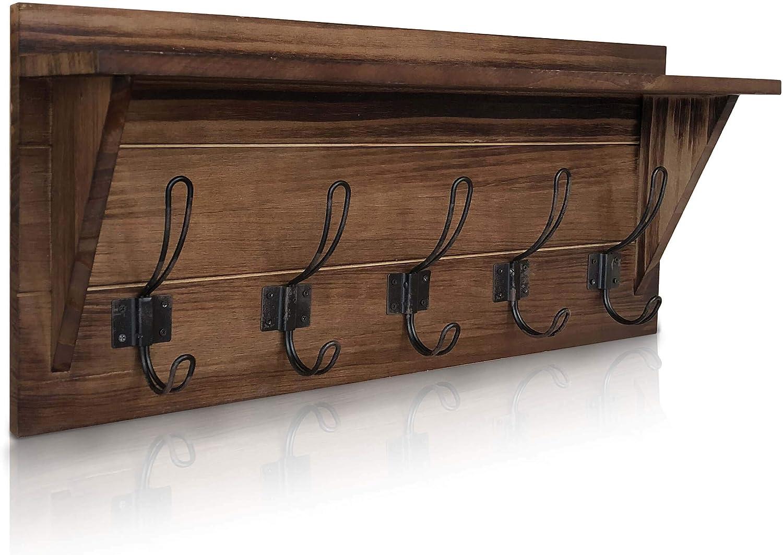 Amazon.com: Perchero de pared rústico – Estante de madera ...