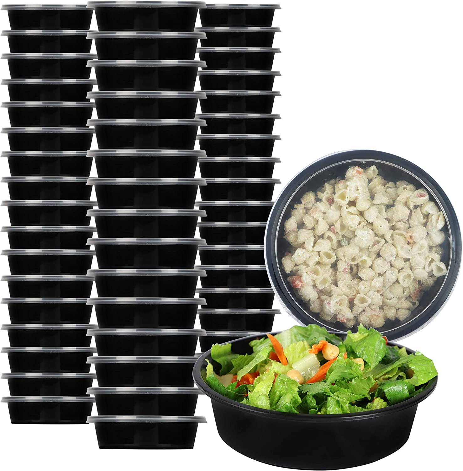 Vinotex Kitchen 25 Pack 29 oz Meal Prep single compartment round food containers. BPA-Free Bento Stackable Lunch Boxes, Microwave/Dishwasher/Freezer Safe, Portion Control, Value [25 Pack] R1100-25