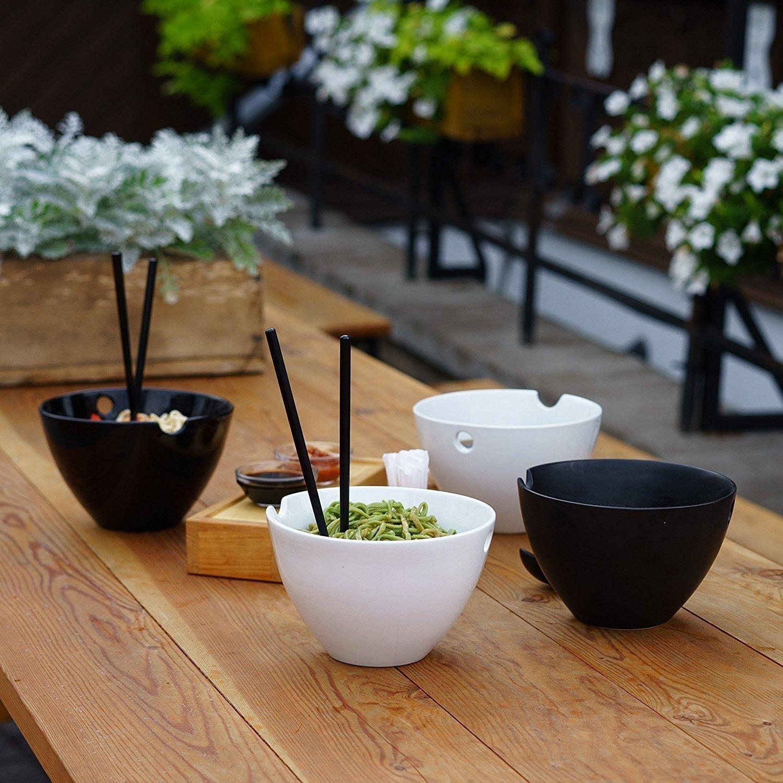 Kenley, set di ciotole, da 1 l, ciotole per zuppe, pasta e riso, dal diametro di 18,5 cm, con bacchette di bambù e cucchiai in ceramica, stoviglie asiatiche in porcellana adatte al forno a microonde