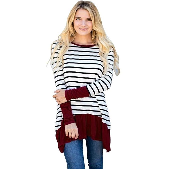 Camiseta Mujer,Longra ❤ Moda Tartán y RayasCamisa para Mujer, Blusa Elegante,