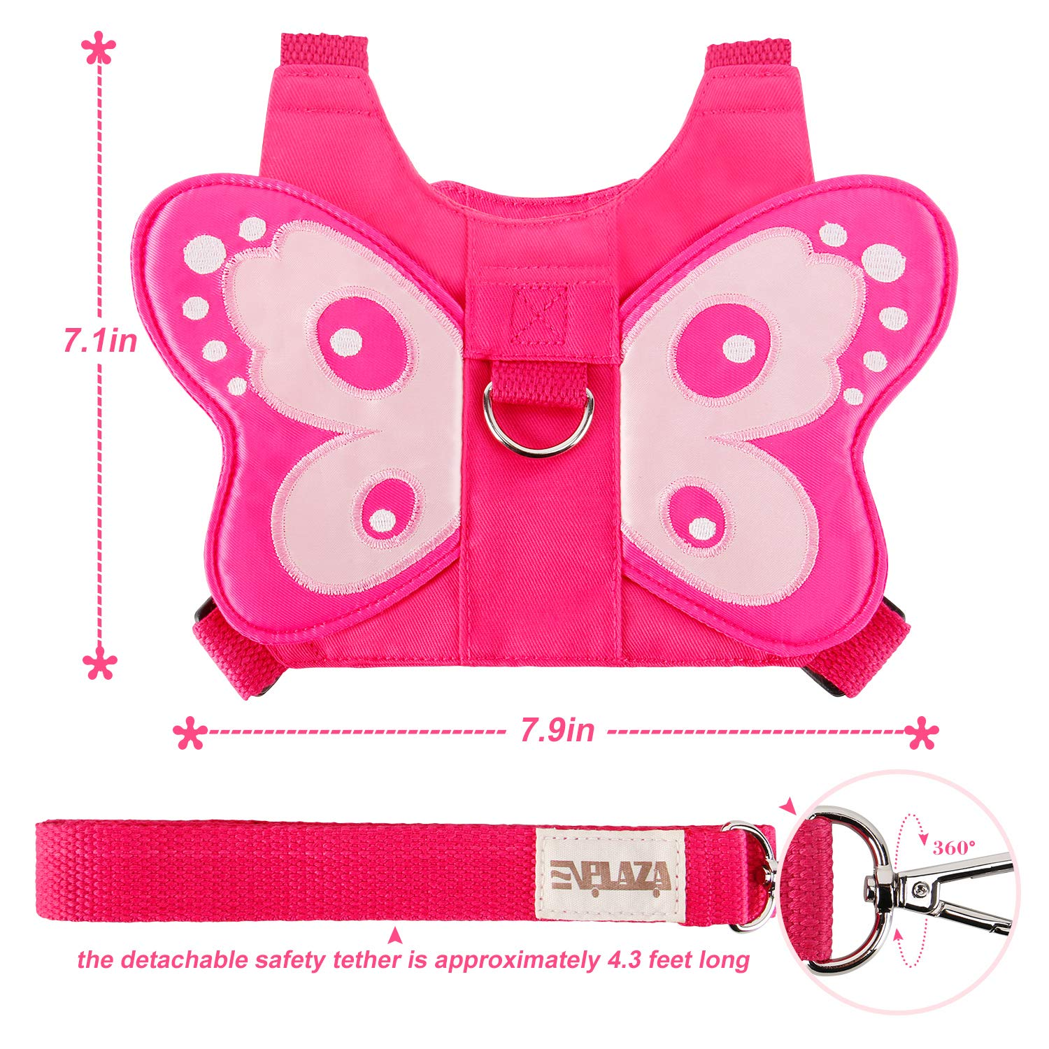 Butterfly Rose EPLAZA Toddler Baby Butterfly Harness with Anti Lost Wrist Link Leash for Child Kid Safety Walking