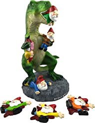 By Mark & Margot Garden Gnome Massacre - T-rex Dinosaur Eating Gnome Statue - Best Art Décor Indoor Outdoor Home Office Decor - 3 squished Gnomes Included