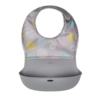 OXO Tot Waterproof Silicone Roll Up Bib with Comfort-Fit Fabric Neck, Gray Patterned 61111900