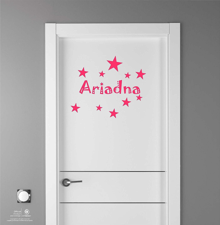 Paredes.Nombre: Ariadna Kit de 10 Estrellas para Libre colocaci/ón. Puertas en Color Rosa Nombre de 20cm Artstickers Adhesivo Infantil para decoraci/ón de Muebles