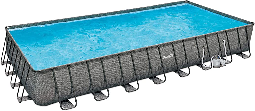 Summer Waves P43216521 32ft X 16ft X 52in Outdoor Rectangular Frame Above Ground Swimming Pool Set W Sand Filter Pump Cover Ladder Ground Cloth Garden Outdoor
