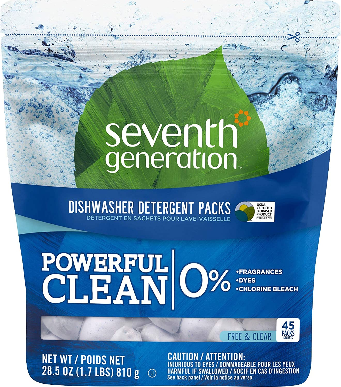Seventh Generation 22897 Natural Dishwasher Detergent Concentrated Packs Free & Clear, 45 Packets/PK