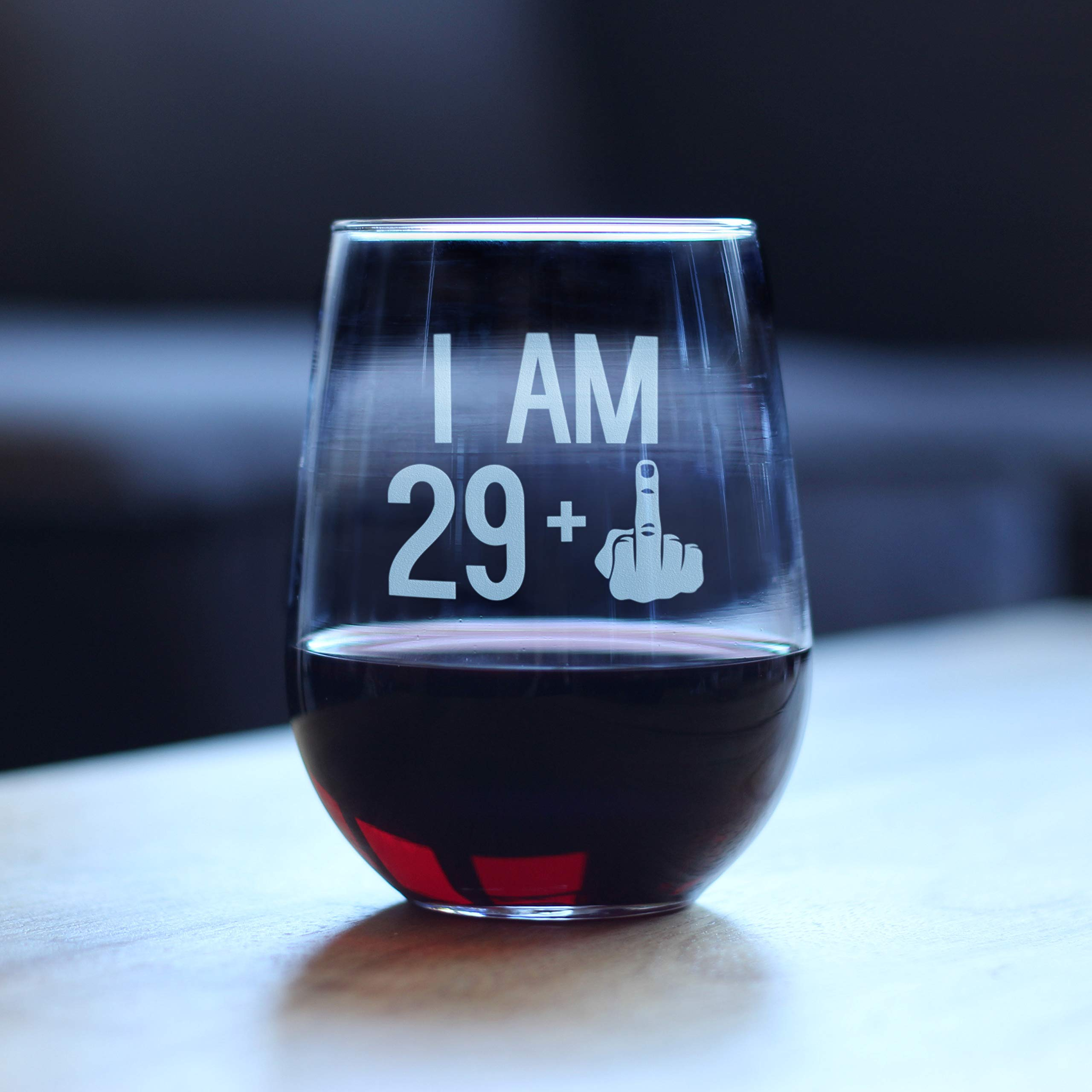 29 + One Middle Finger | 30th Birthday Stemless Wine Glass for Women & Men | Cute Funny Wine Gift Idea | Unique Personalized Bday Glasses for Best Friend Turning 30 | Drinking Party Decoration by Bevvee (Image #2)