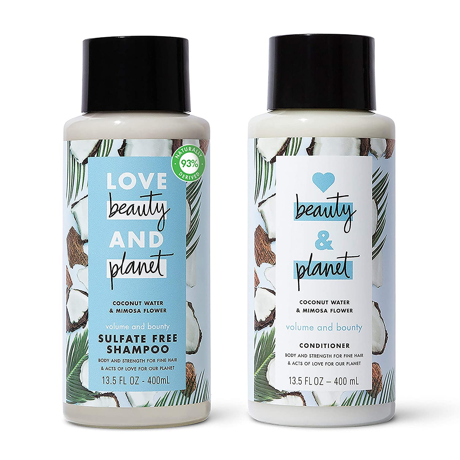 Love Beauty and Planet Volume and Bounty Shampoo and Conditioner
