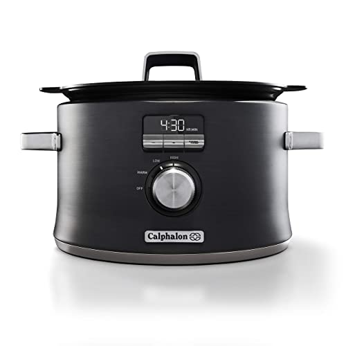 Calphalon Digital Sauté Slow Cooker, Dark Stainless Steel