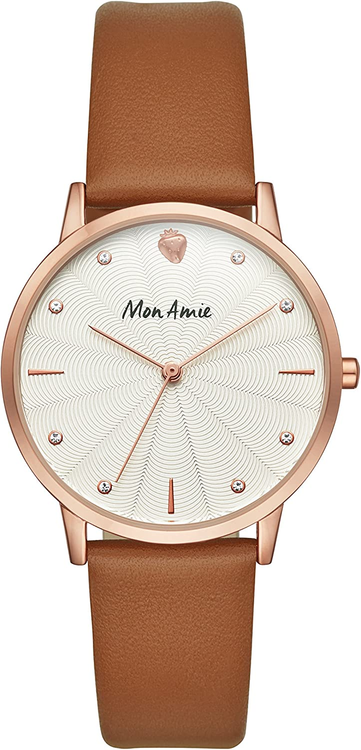 Mon Amie Women s Brown Leather Watch – Supports School Lunches CBMA1003