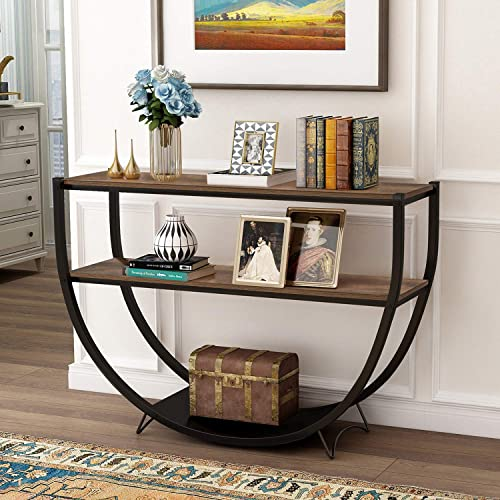 P PURLOVE Retro Style Console Table 2 Tier Sofa Table for Entryway with Storage Shelves Metal Frame Rustic Brown