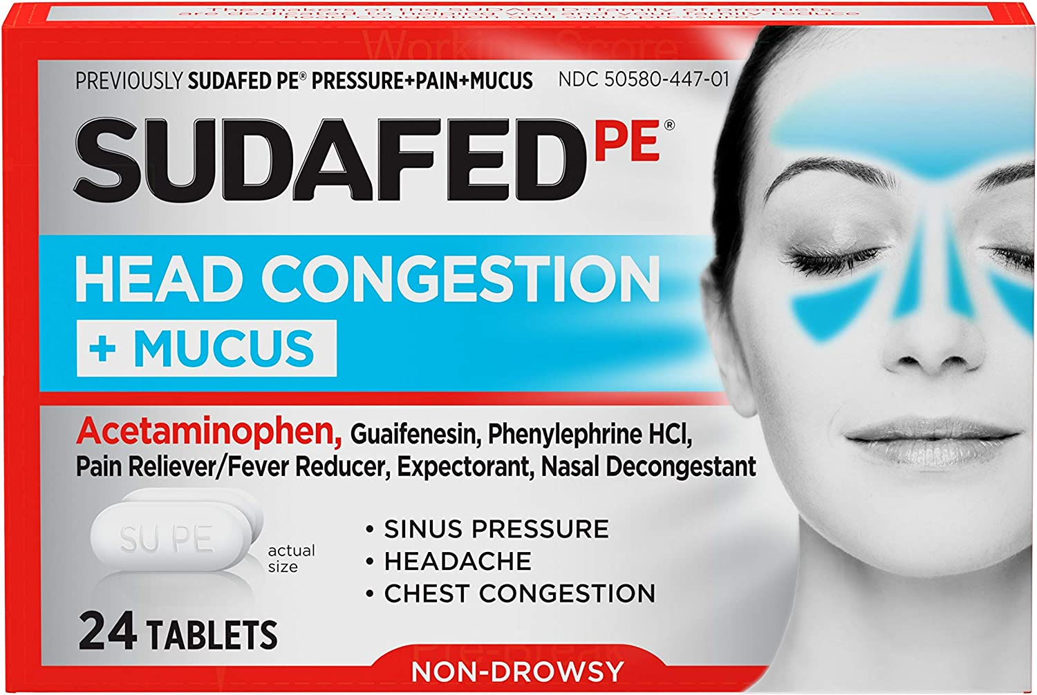 Sudafed PE Head Congestion + Mucus Tablets for Sinus Pressure, Pain & Congestion, 24 ct: Health & Personal Care