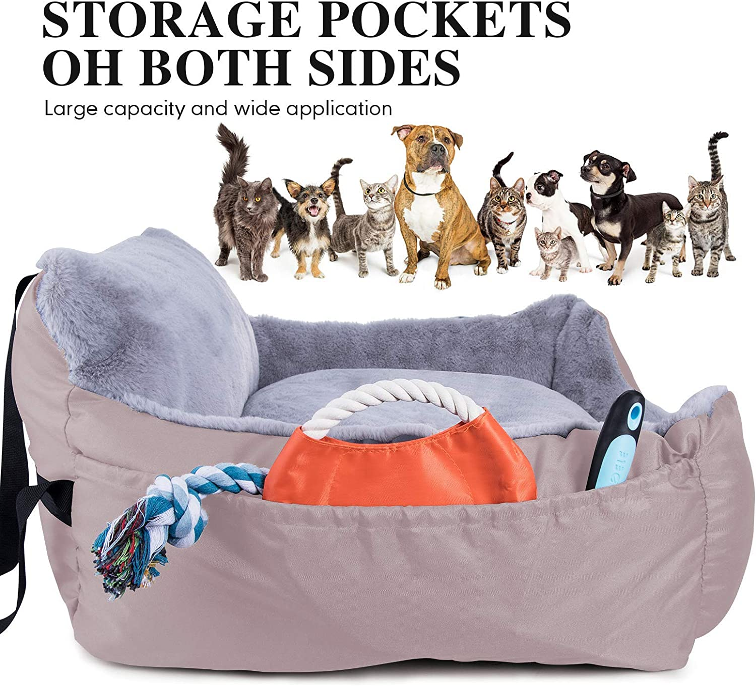 Oxford Soft Car Seat with Clip-on Safety Leash and Storage Pocket for Puppy Small Pet-Beige Dog Car Seat