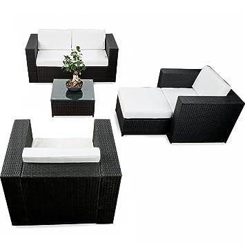 XXL Lounge Rattan Sofa Für Balkon Und Terrasse Erweiterbar   XXL Lounge  Garnitur Gartenset