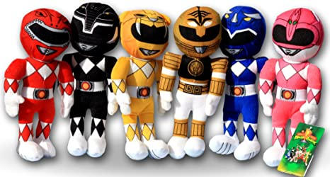 Power Rangers Pack 6x Peluches 20cm Coleccion Comlepta Rangers Dino Charge Superhéroes Red, Pink,
