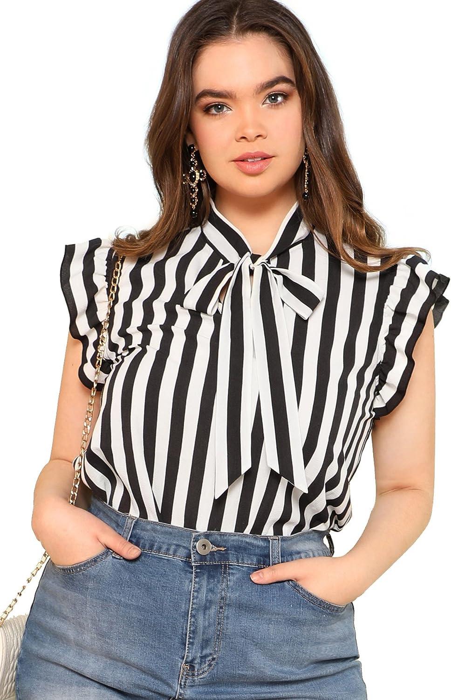 Floerns Women's Sleeveless Bow Tie Striped Summer Chiffon Blouse Top