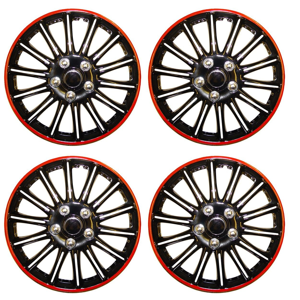 UKB4C Set of 4 14' Black/Red Wheel Trims/Hub Caps fits Peugeot 106 107 206 207