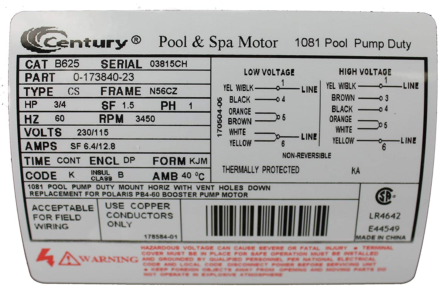 Pool Motor 3 4 Hp 3450 Rpm 230 115vac Home Improvement Hayward Ao Smith Wiring Free Download Diagram Schematic