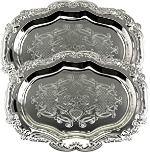 Maro Megastore (Pack of 2) 19.7 Inch x 14.2 Inch Floral Shape Antique Decorative Style Mirrored Serving Tray Wedding Birthday Buffet Party Dessert Food Art Decor Party Wine Platter Plate Dish CC-847