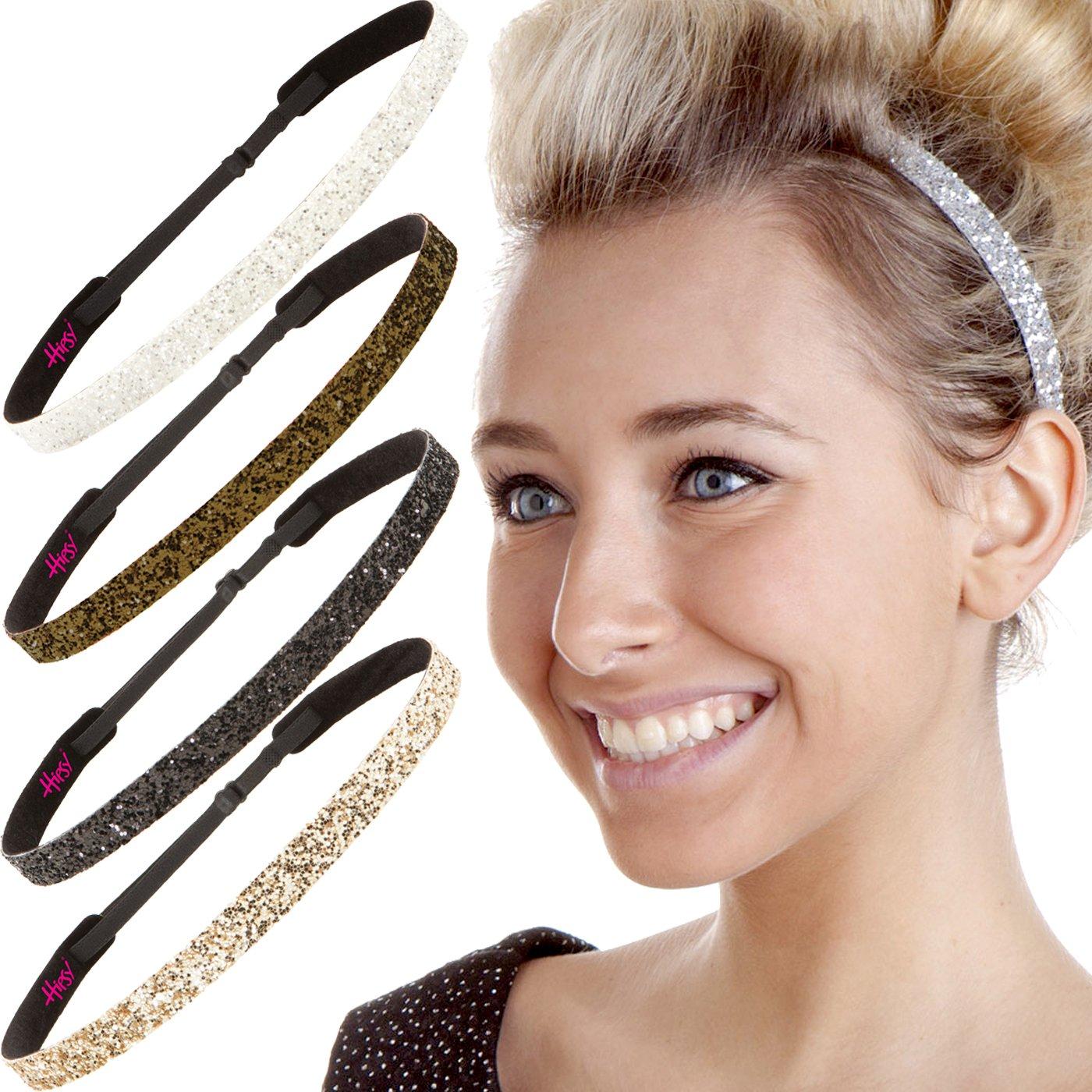 Hipsy 5pk Women's Adjustable NO SLIP Skinny Bling Glitter Headband Multi Gift Pack (Gold/Black/Silver/Brown/White)