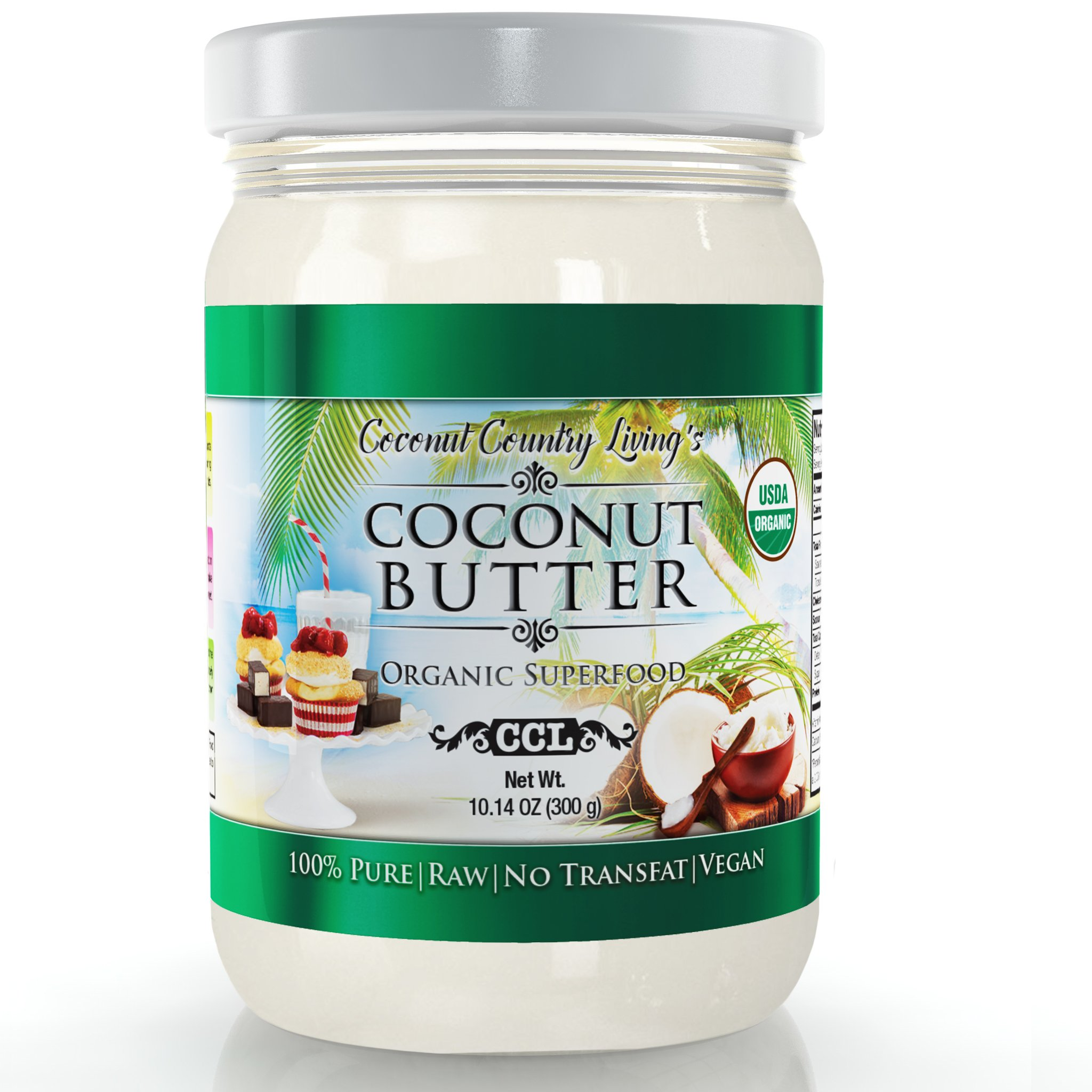 Coconut Butter Organic 10 oz Raw Stone Ground Pureed For Keto Paleo Friendly Treats by Coconut Country Living