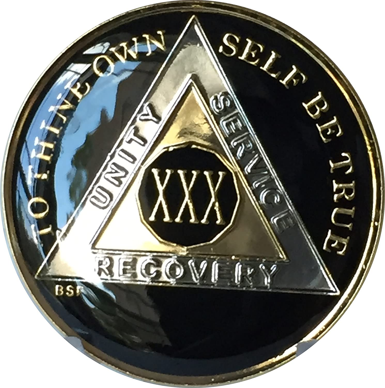 AA Black Gold 23 Year Coin Tri-Plate Alcoholics Anonymous Medallion Sober Chip
