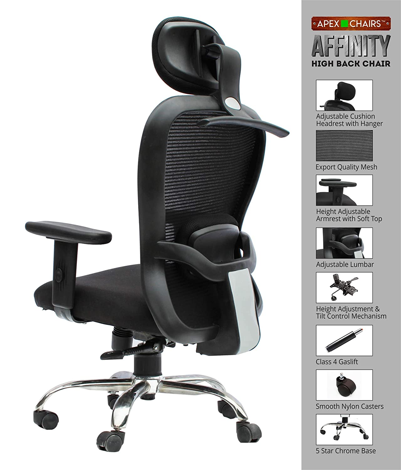 APEX Chairs Affinity Chrome Base HIGH Back Office Chair