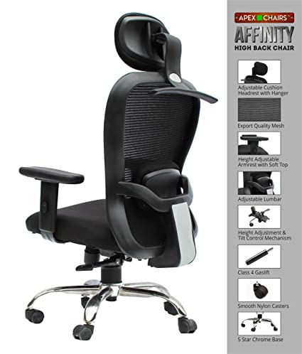 savya home apex chairs affinity chrome base high back office chair with adjustable arms and anytime