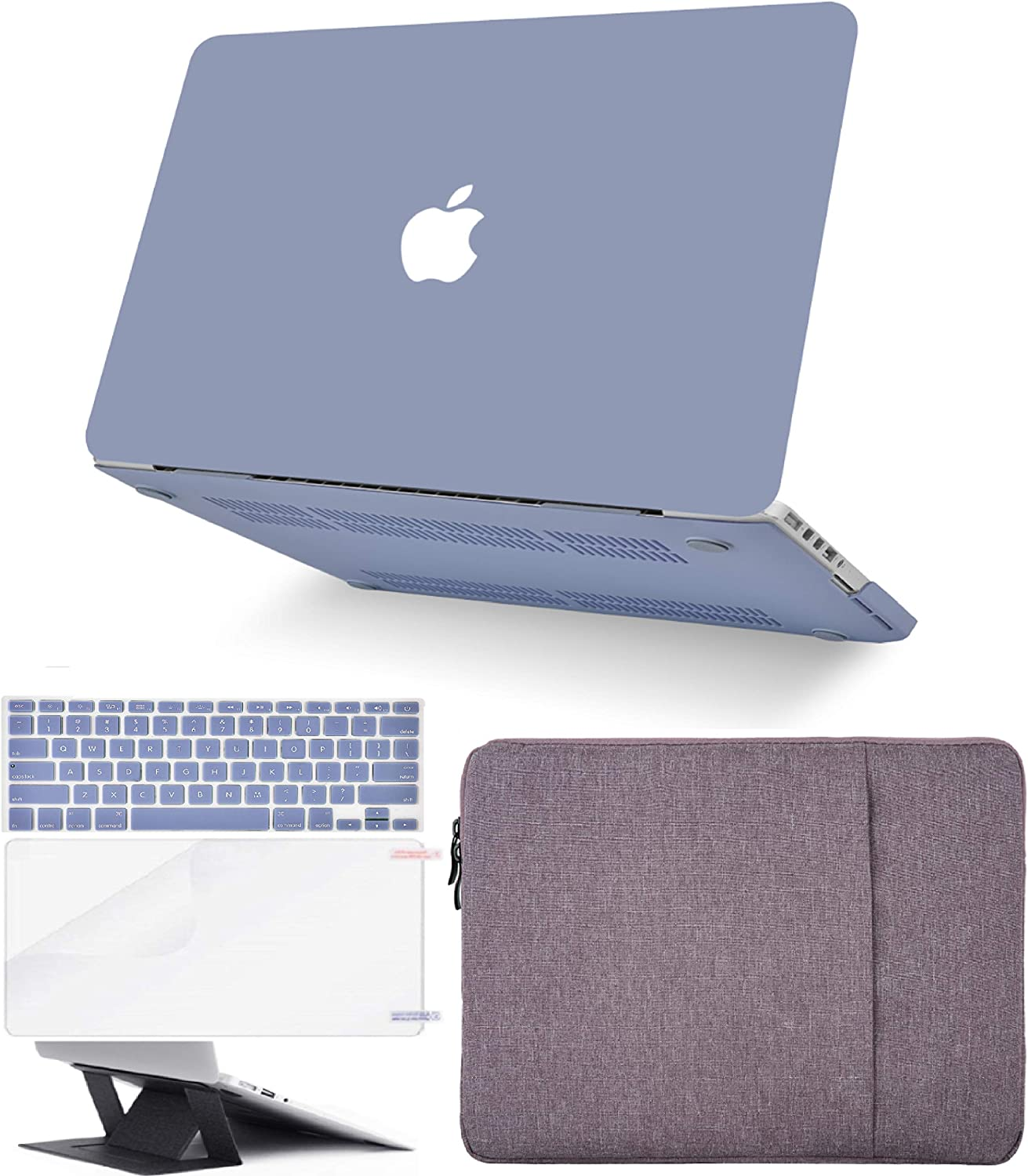 "KECC Laptop Case for MacBook Air 13"" Retina (2020, Touch ID) w/Keyboard Cover + Sleeve + Screen Protector + Laptop Stand (5 in 1 Bundle) Plastic Hard Shell Case A2179 (Lavender Grey)"