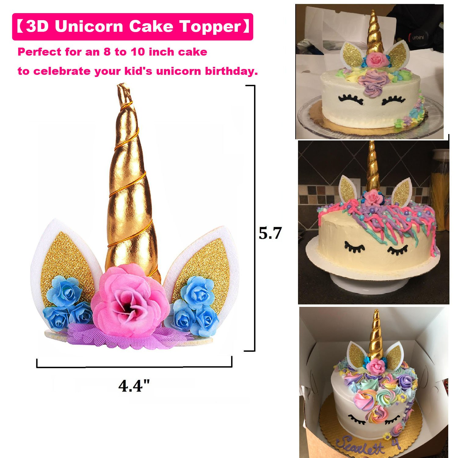 Baby Shower and Wedding Unicorn Cake Topper with Eyelashes NALAKUVARA Handmade 3D Gold Reusable Unicorn Birthday Cake Decorations Set Favors for Party Supplies 8 inch High