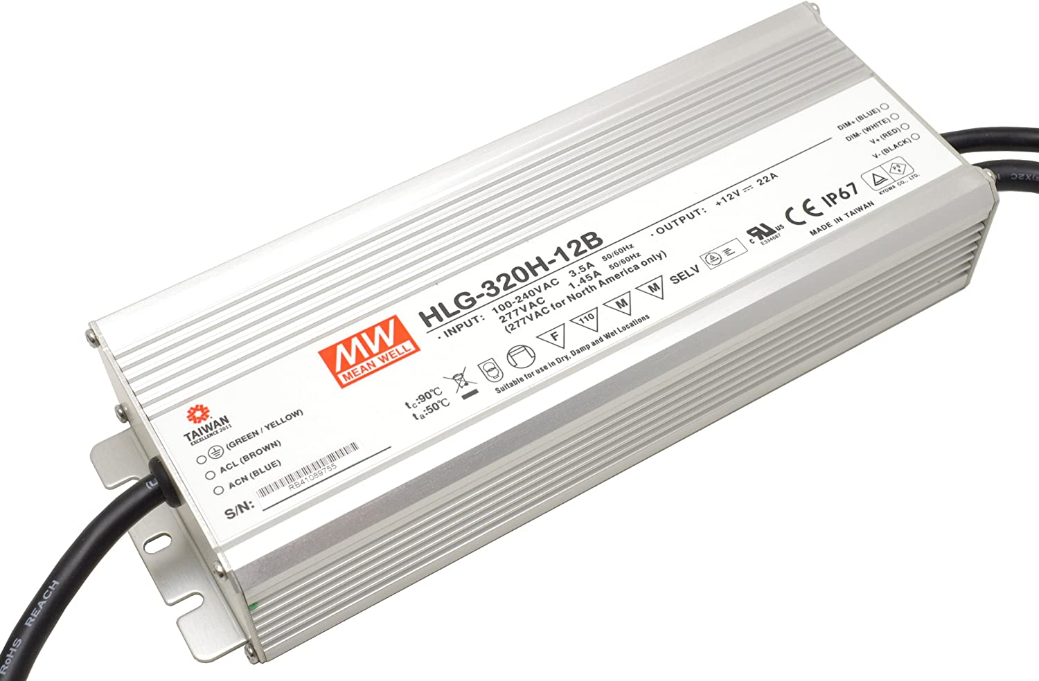 12 V 22 A 1~10 VDC, PWM-Signal, oder Widerstand integrierte 3-in-1-Dimmfunktion Mean Well LED-Netzteil 264 W MeanWell HLG-320H-12B