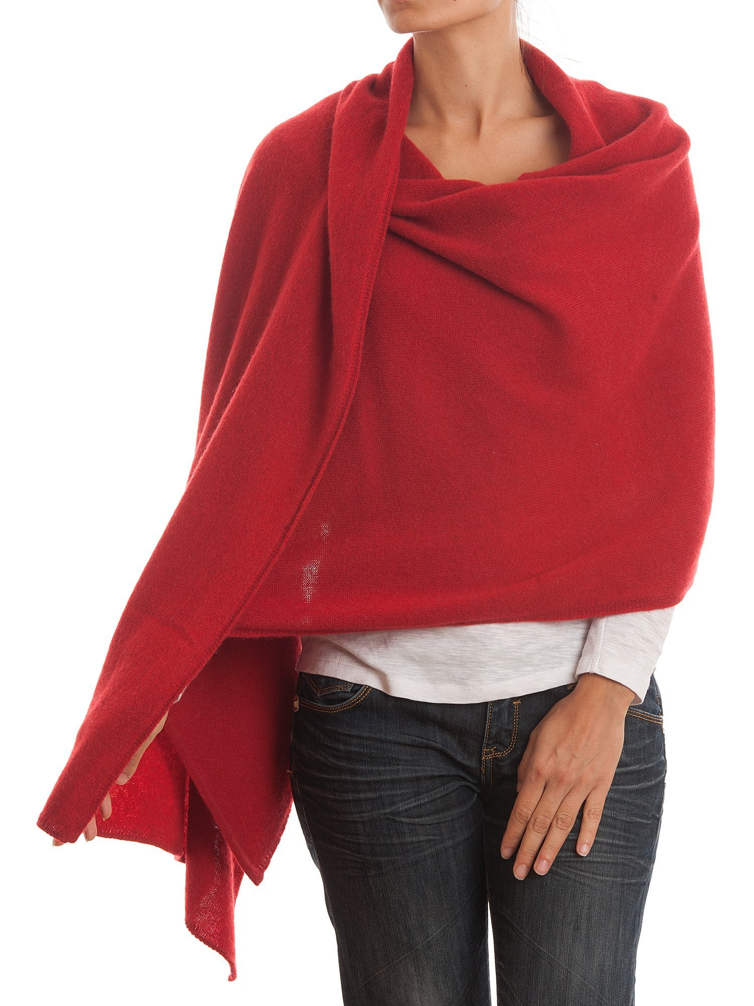 Dalle Piane Cashmere - Stole 100% cashmere - Made in Italy, Color: Red, One size by DALLE PIANE CASHMERE