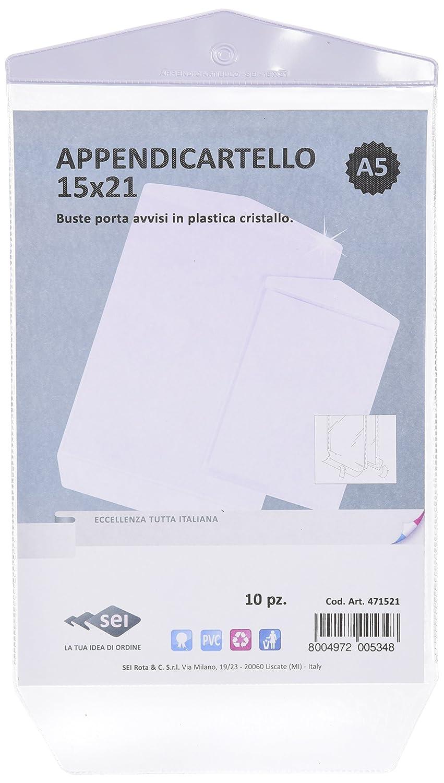Sei Rota 471521 Porta Avvisi a Busta con Foro, 15 x 21 cm