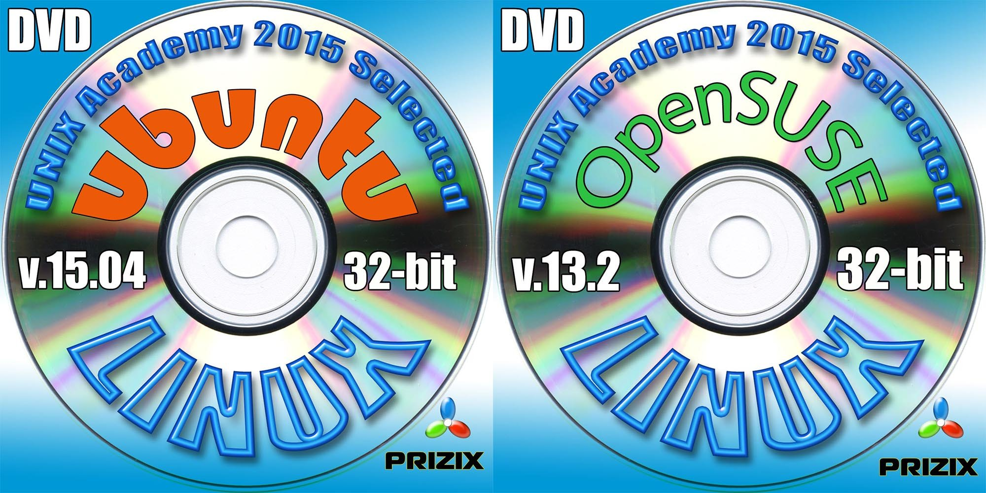 Ubuntu 15.04 and OpenSuse 13.2 Linux 2 DVD Set 32 bit Full Installation Includes Complimentary UNIX Academy Evaluation Exam by PRIZIX