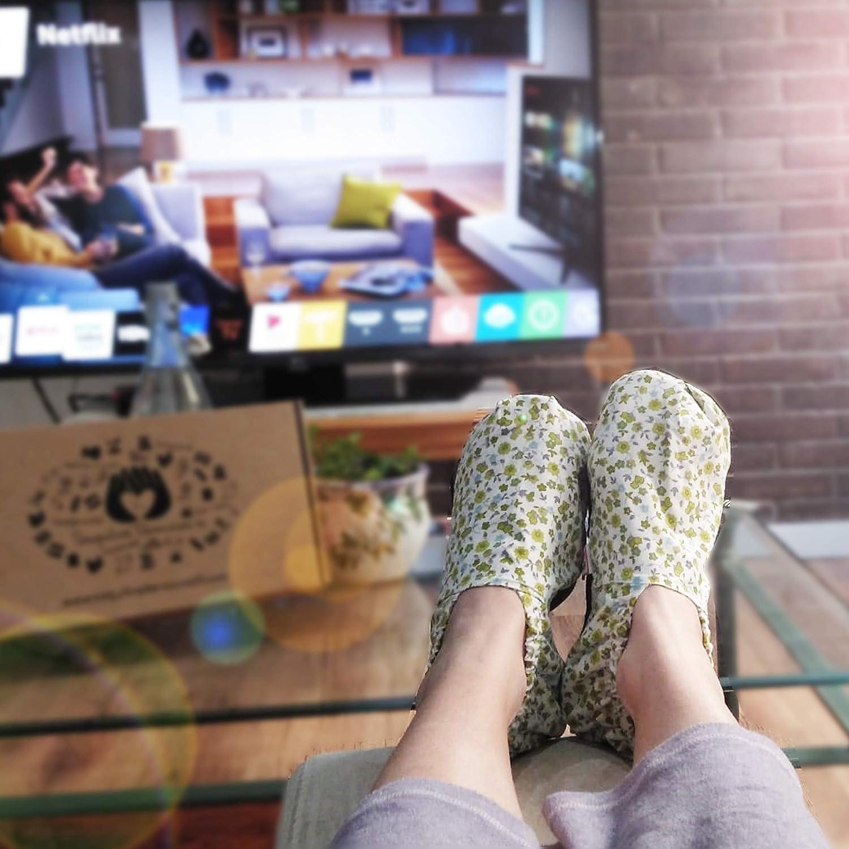 Pantoufles chaudes 100/% naturelles de premi/ère qualit/é /à lar/ôme de lavande. Chauffe-Pieds Chaussures thermiques avec des graines /à chauffer au micro-ondes