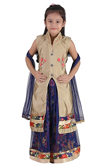 f57196b02b7 Qeboo Girls Party Wear Ethnic - Embroidered Cotton Net Lehenga Choli  Dupatta Set with