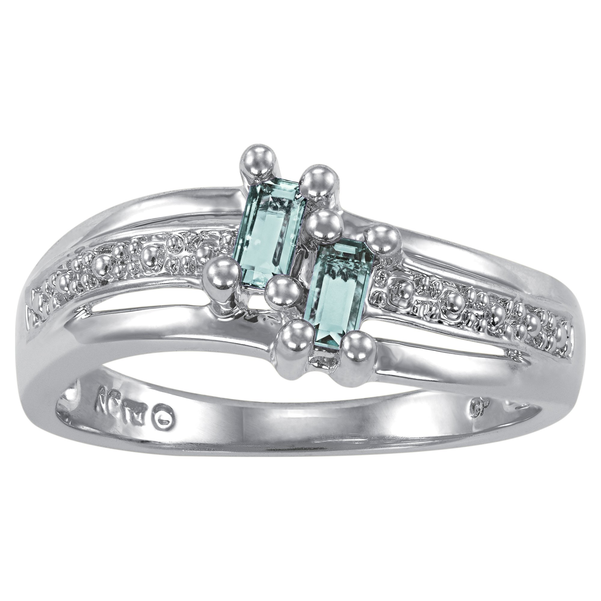 ArtCarved Love Moments Simulated Blue Zircon December Birthstone Ring, Sterling Silver, Size 10.5