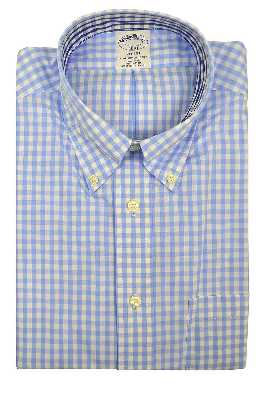 Brooks Brothers Mens Regent Fit Contrast Collar The Original Polo Button Down Shirt Light Blue White Plaid