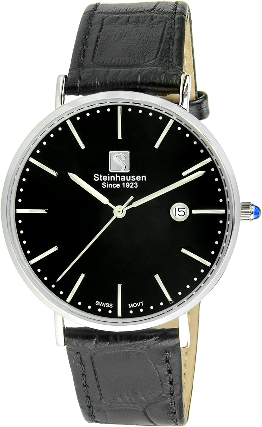 Steinhausen Men s S0519 Classic Burgdorf Swiss Quartz Stainless Steel Watch with Black Leather Band