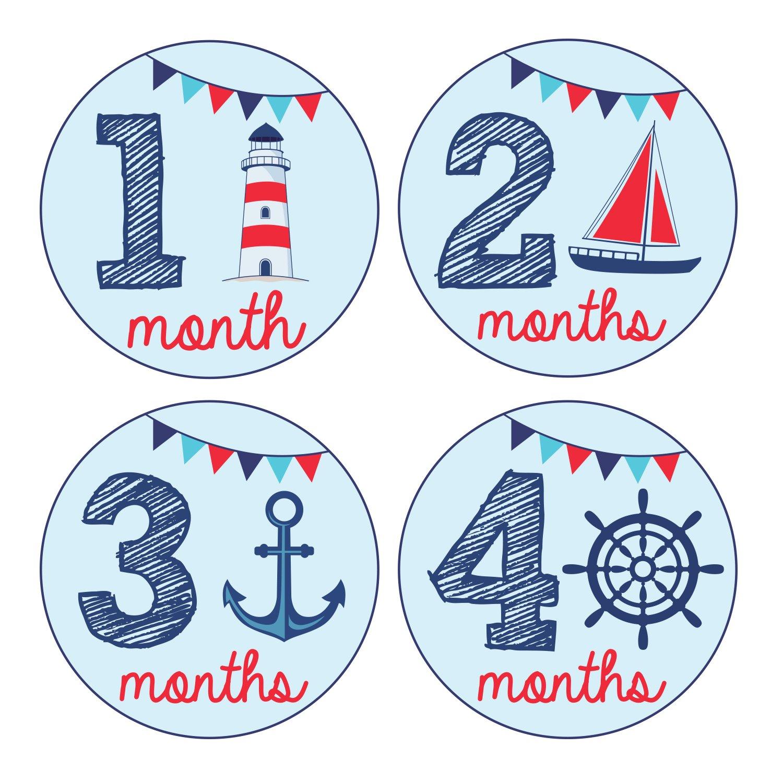 Amazon.com: Pinkie Penguin Baby Monthly Stickers   Nautical Theme   Baby Boy    1 12 Months   Milestone Onesie Stickers  Baby Shower Gift: Baby