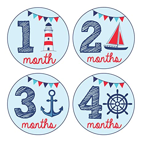 Pinkie penguin baby monthly stickers nautical theme baby boy 1 pinkie penguin baby monthly stickers nautical theme baby boy 1 12 months negle Image collections
