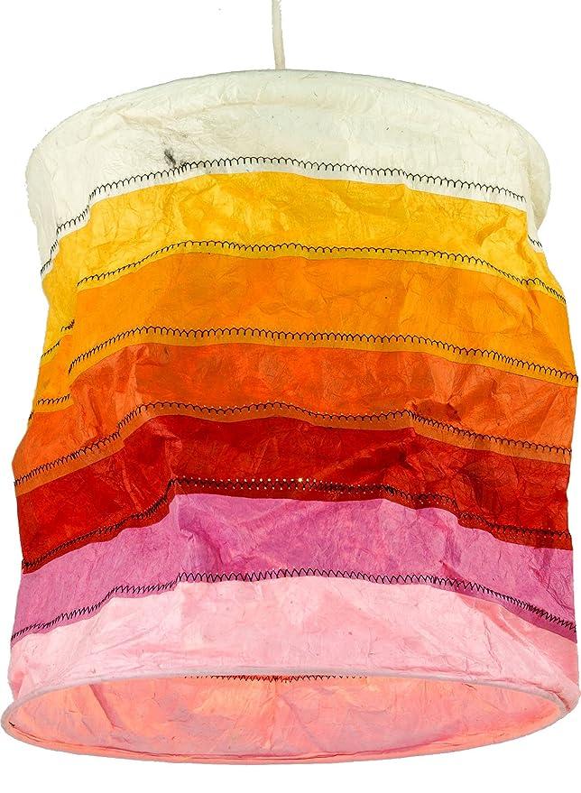 Handgemachte Deckenleuchte Lokta-Papier Handgesch/öpftes Papier 30x28x28 cm Lokta Papierlampenschirm Annapurna Stripes Guru-Shop Runde Papier H/ängelampe Lila