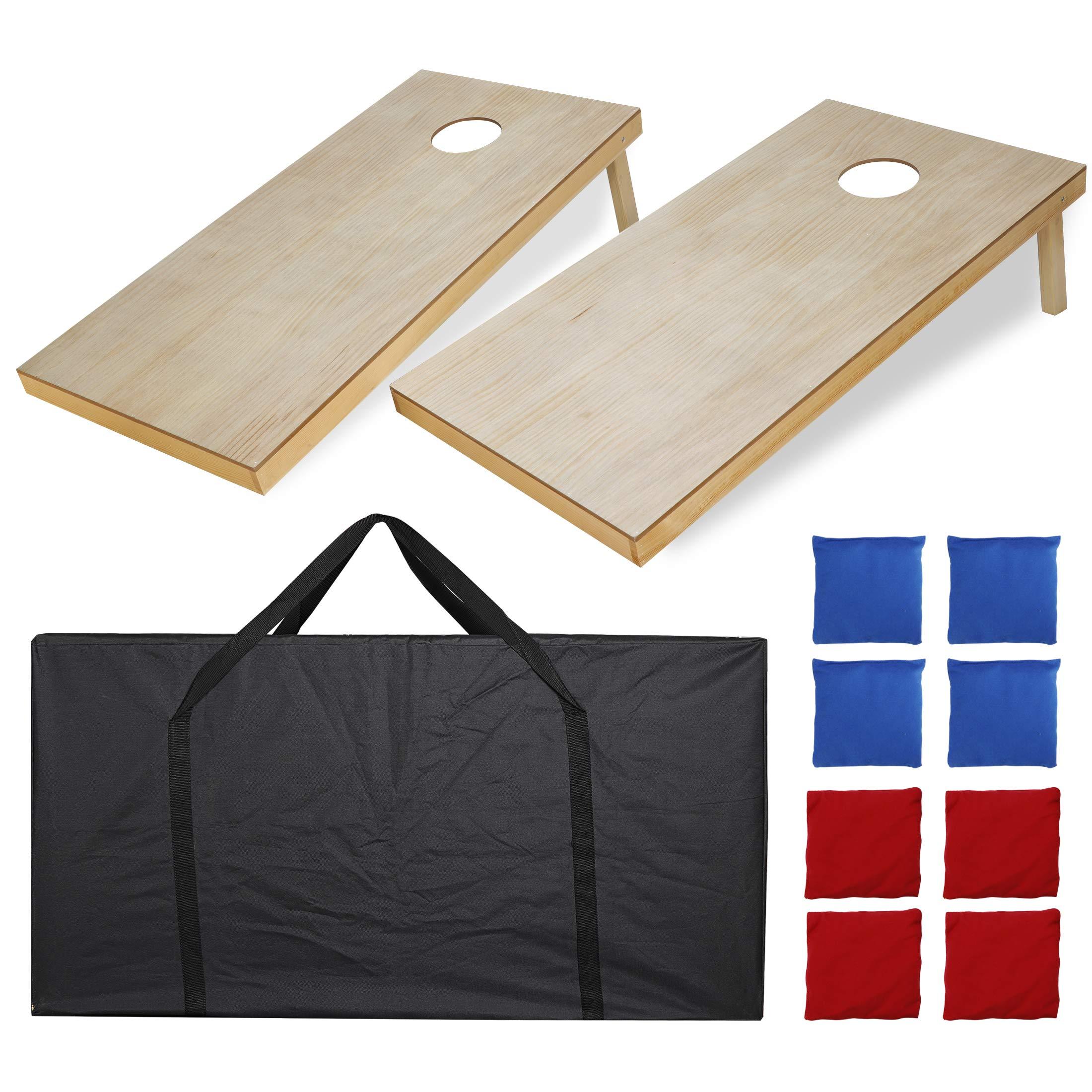 ZENY Portable Wood Cornhole Set Bean Bag Toss Game Set Regulation Size 4'x2' Game Boards & 8 Corn Hole Bean Bags Outdoor Lawn Yard Games