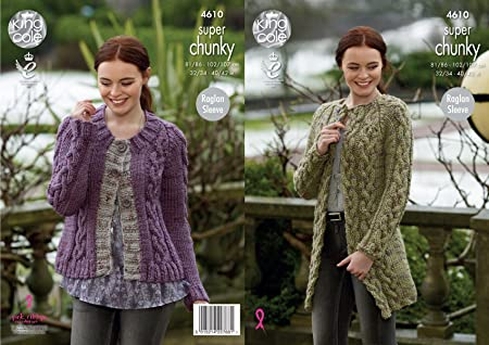 King Cole Ladies Super Chunky Knitting Pattern Womens Raglan Sleeve