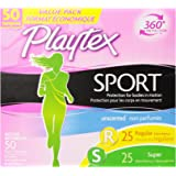 Playtex Sport Tampons with Flex-Fit Technology, Regular and Super Multi-Pack, Unscented - 50 Count