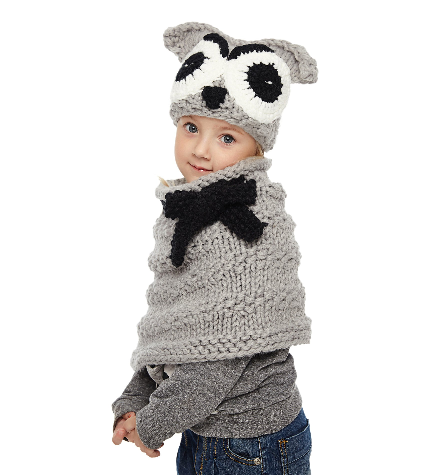 Sumolux Girls Kids Warm Owl Hats and Scarf Set Knitted Coif Hood/Shawl Beanies for Winter by Sumolux (Image #3)