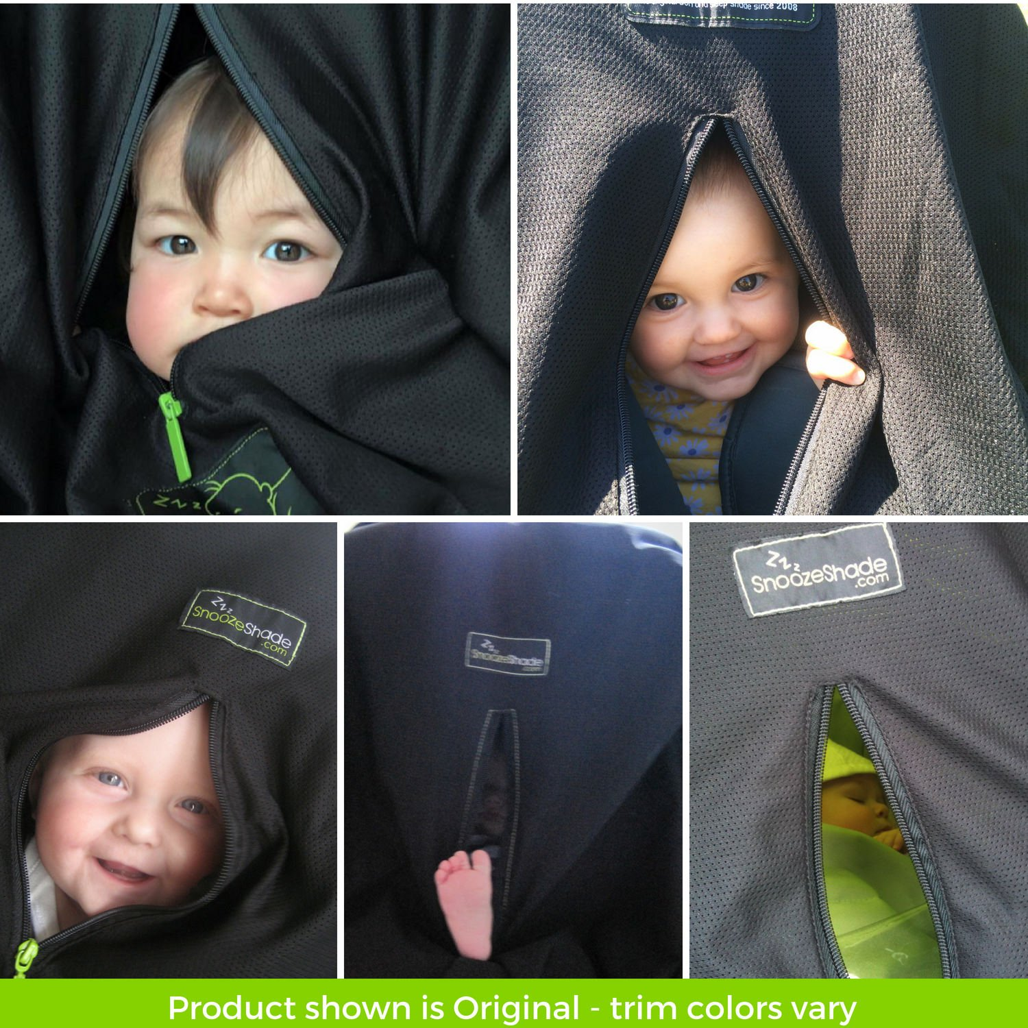 Stops 99/% of The Suns Rays SnoozeShade Original | Breathable and Universal fit Stroller Cover UPF50+ Baby Sun Shade and Blackout Blind for Strollers Best-Selling Safety Green Trim