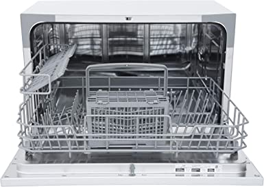 Spt Sd 2213s Energy Star Compact Countertop Dishwasher Portable Dishwasher With Stainless Steel Interior And 6 Place Settings Rack Silverware Basket For Apartment Office And Home Kitchen Silver Appliances Amazon Com
