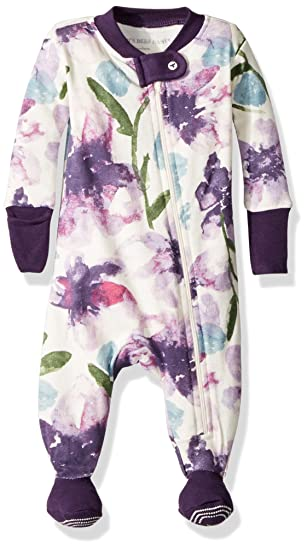 Burts Bees Baby Baby Girls Pajamas, Zip Front Non-Slip Footed Sleeper Pjs